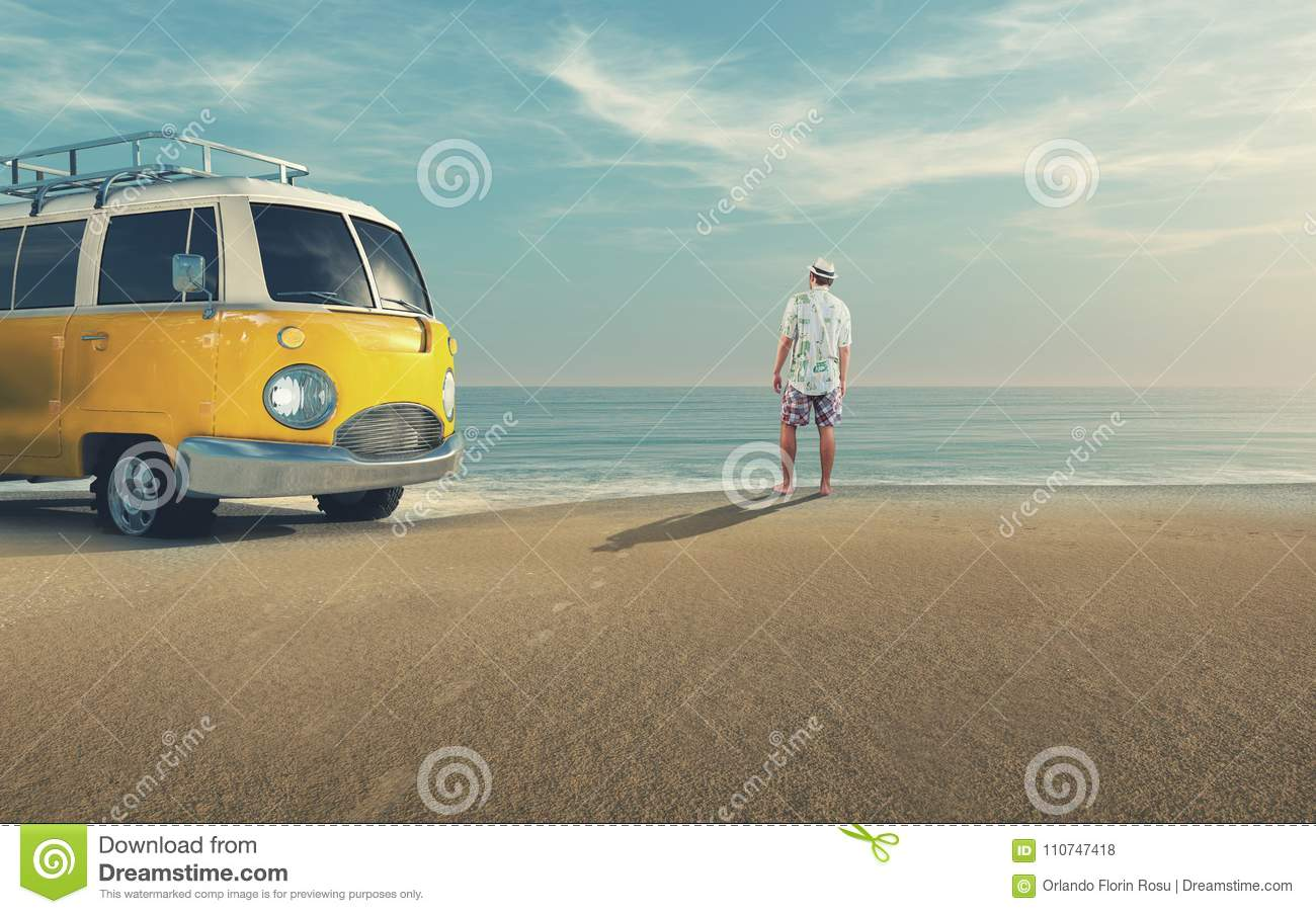 Young man riding a car on the seashore