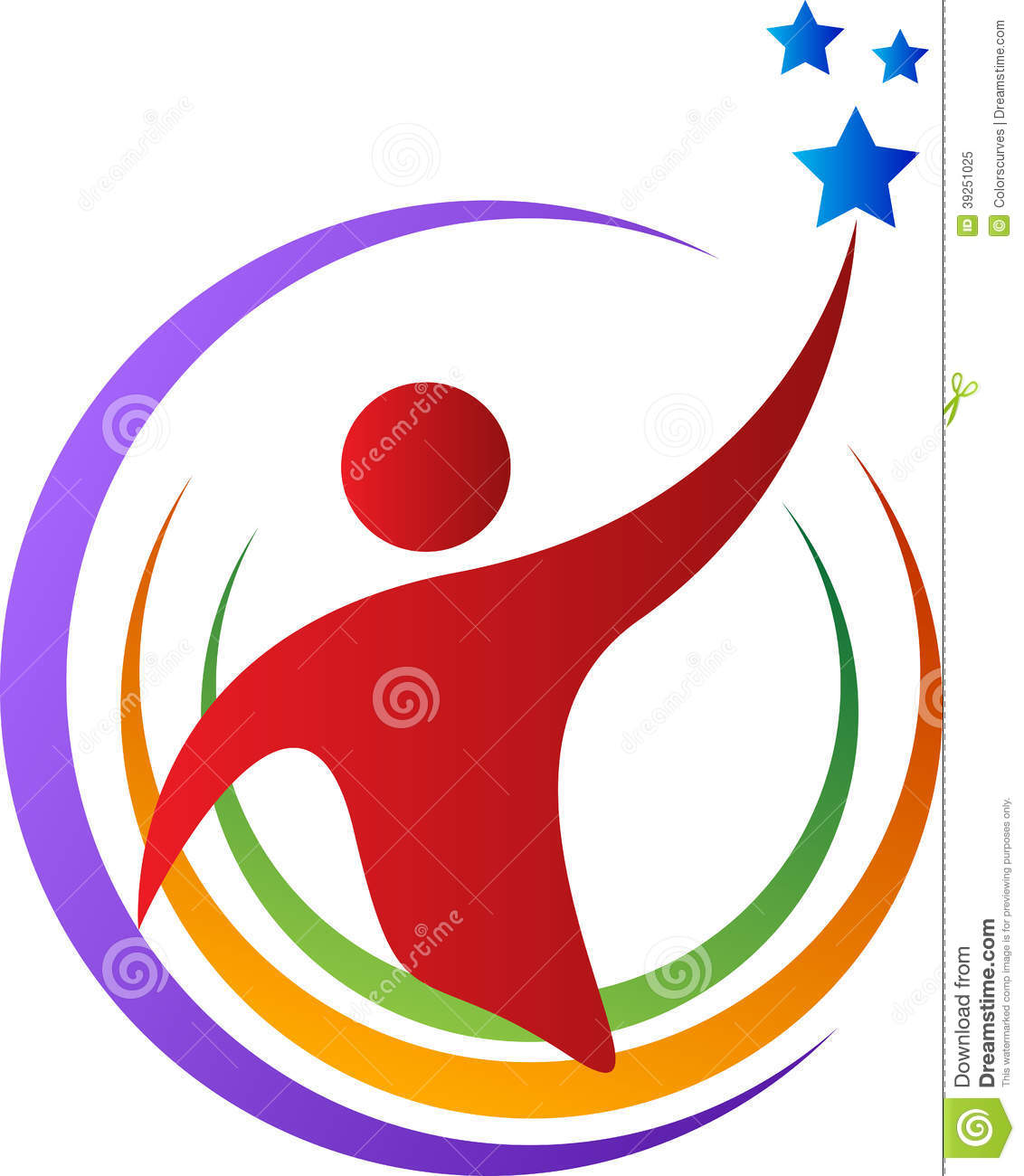 Person Reaching for the Stars Clip Art