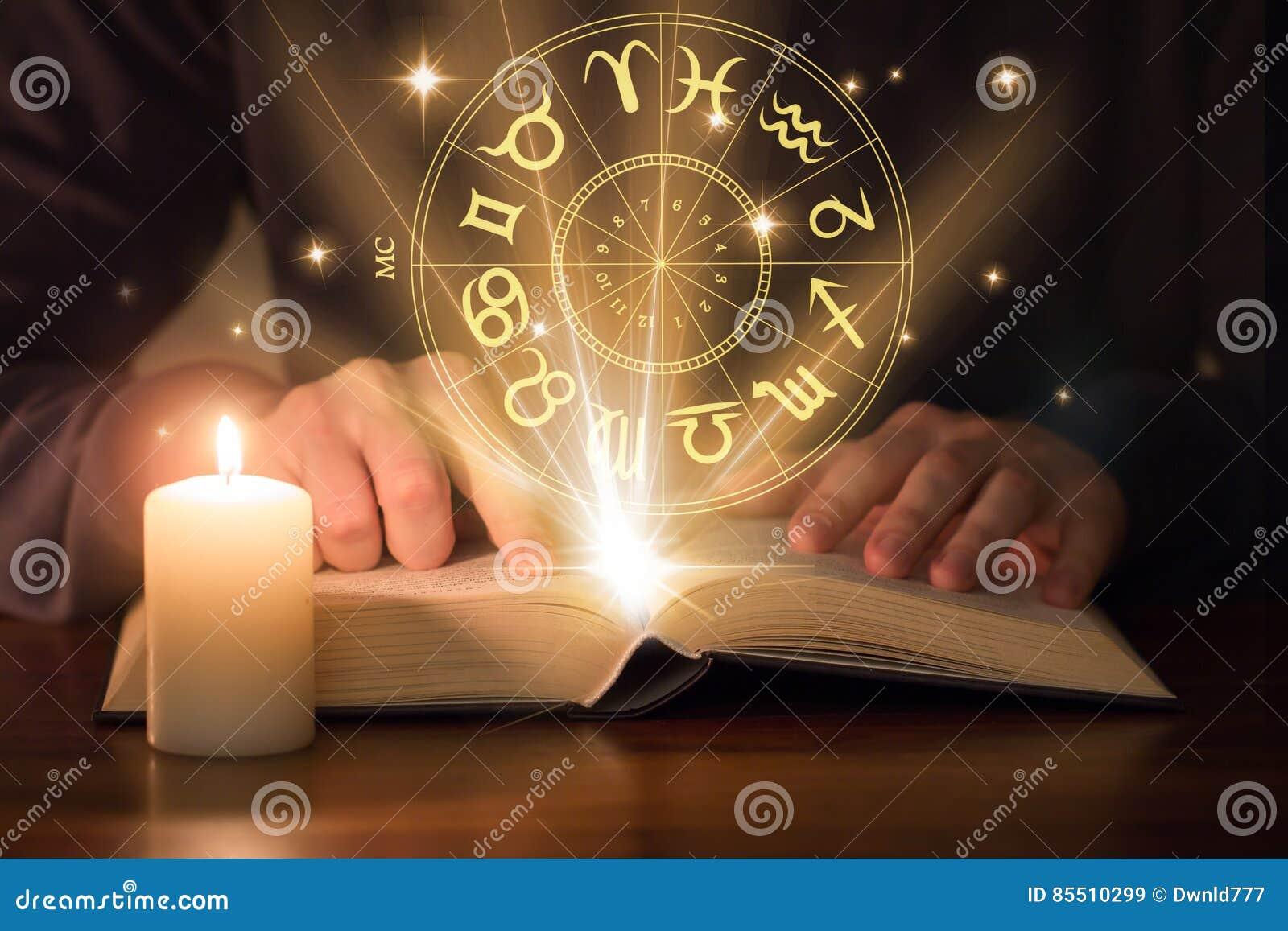 Man reading astrology book