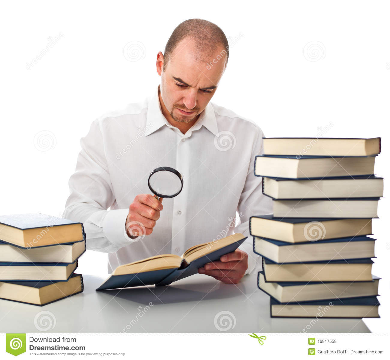 Man Reading A Book Stock Photo Image Of Laptop Indoor