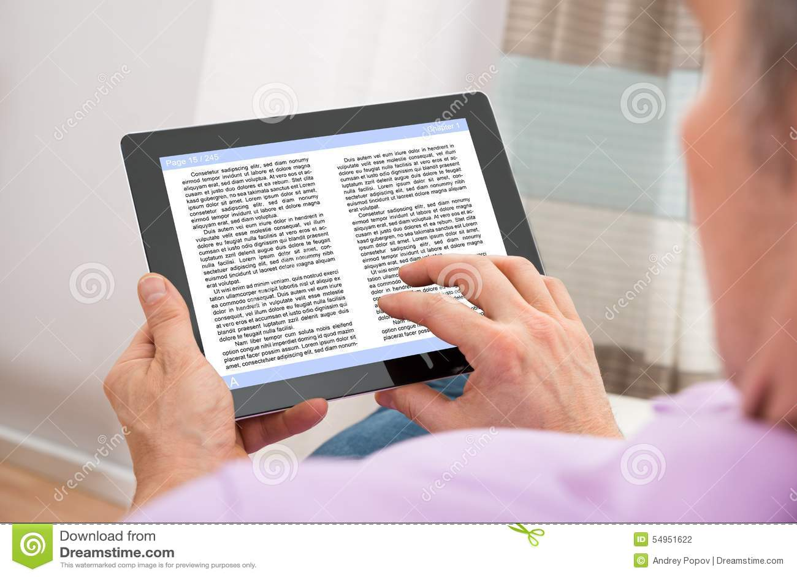 Man reading ebook
