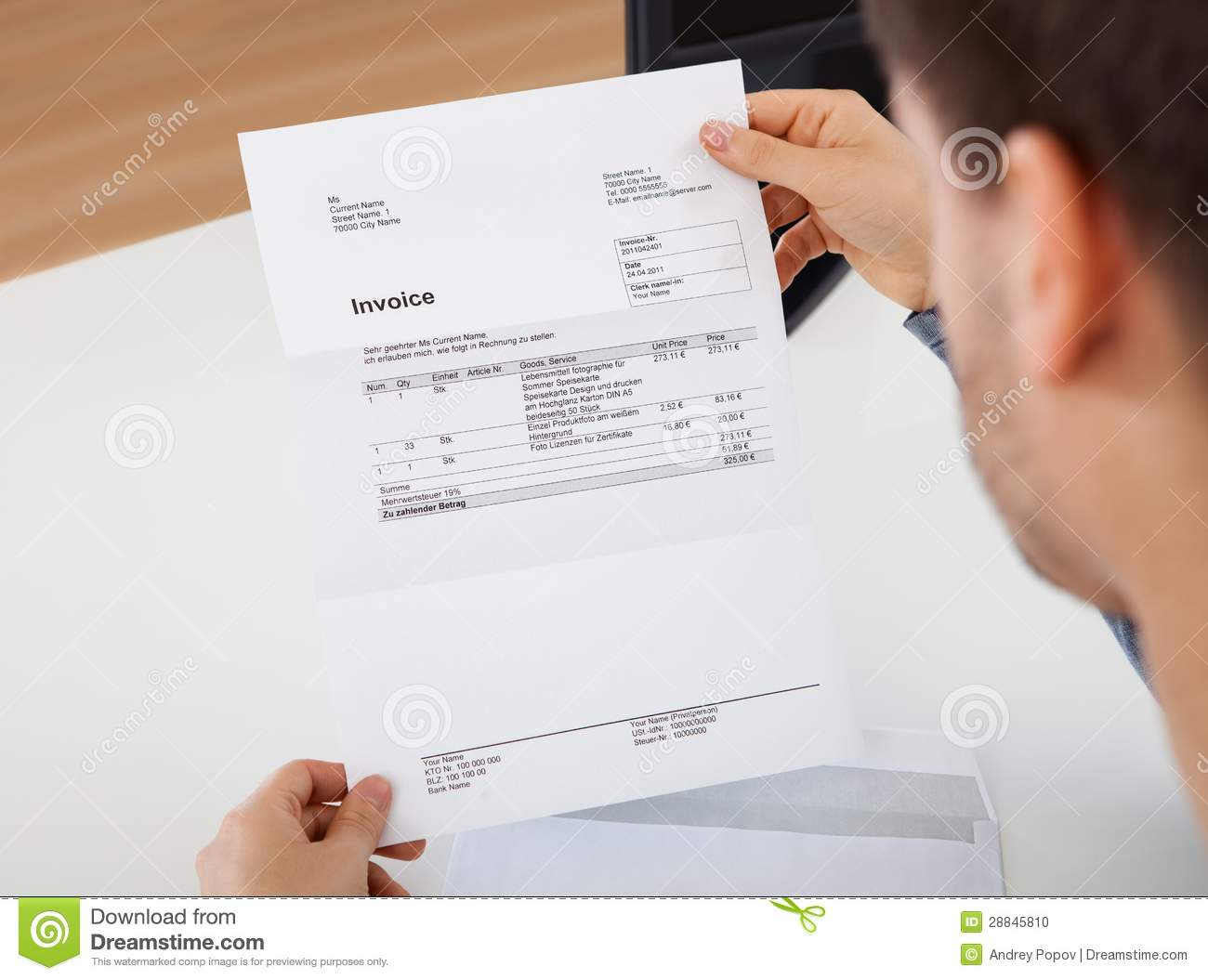 Proforma Invoice Word Format Word Business Man And Invoice Stock Photo  Image  Letter Of Receipt Template Word with Income Receipts Man Reading A Invoice Document Stock Photo Invoice Xls Pdf