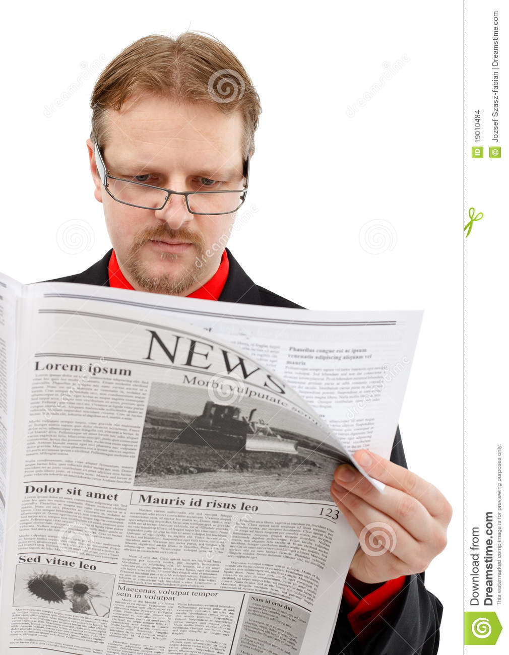 Man Reading News Stock Images
