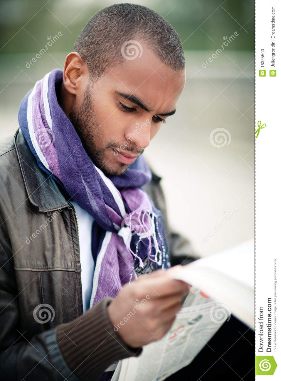 Man Reading Newspaper Stock Photo Image Of Jacket Hair