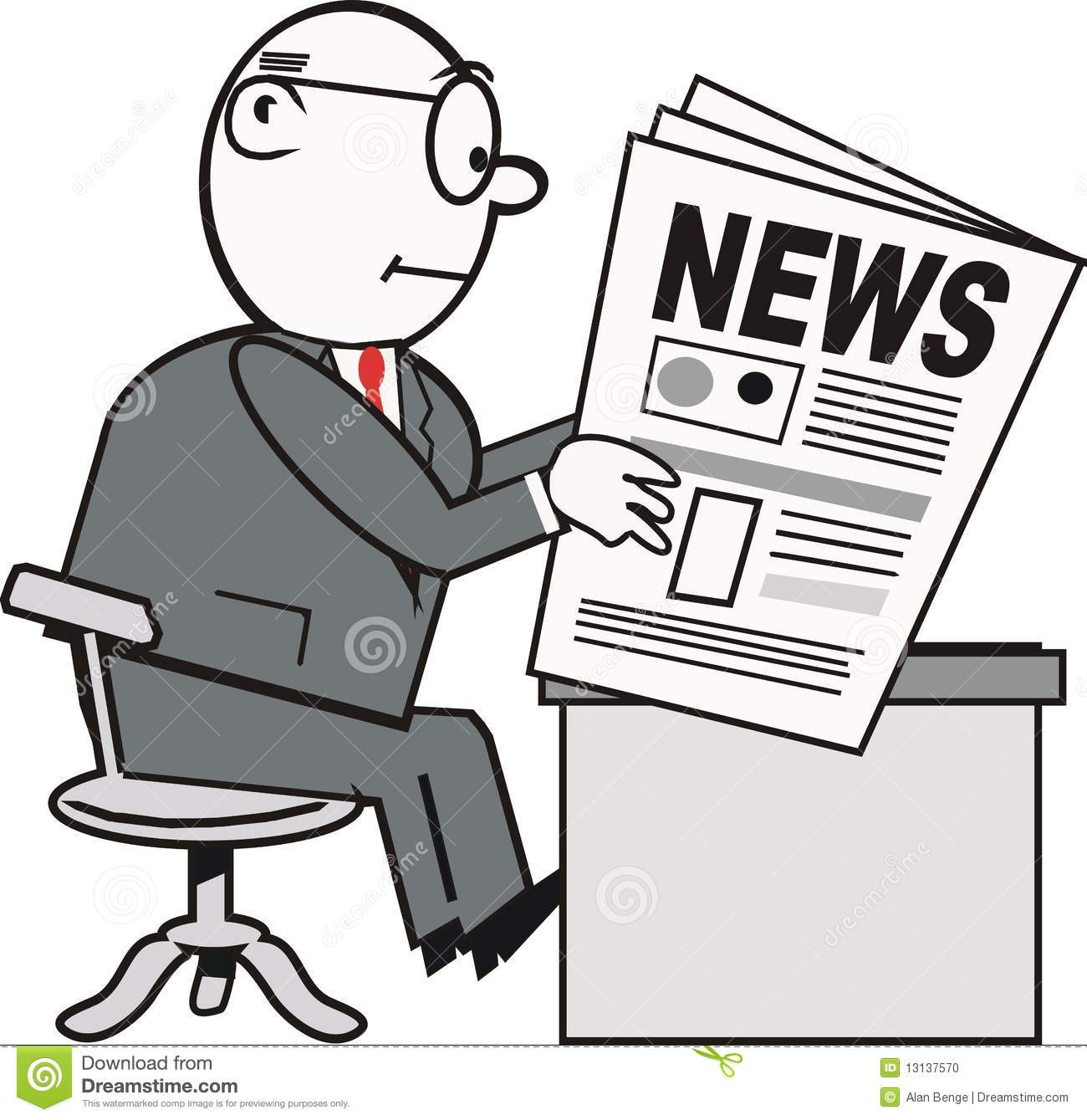 Of businessman reading newspaper at desk in black white and grey