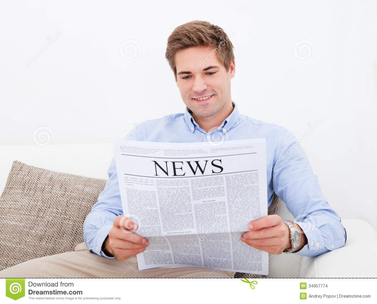 Man Reading Newspaper stock photo. Image of important ...