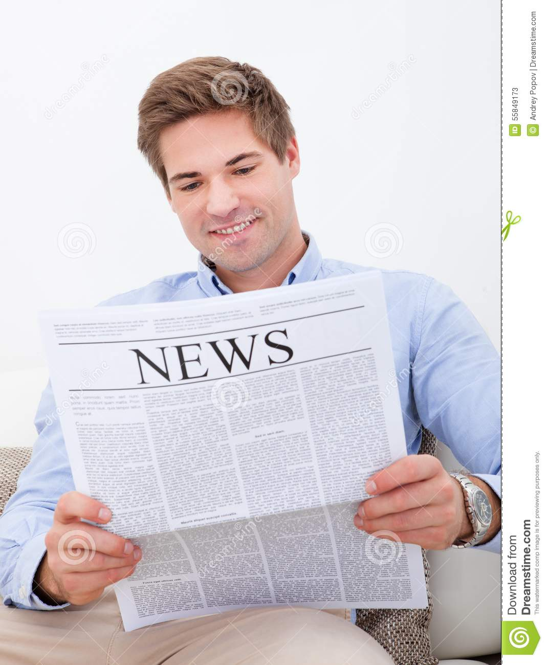 Man Reading Newspaper Stock Photo - Image: 55849173