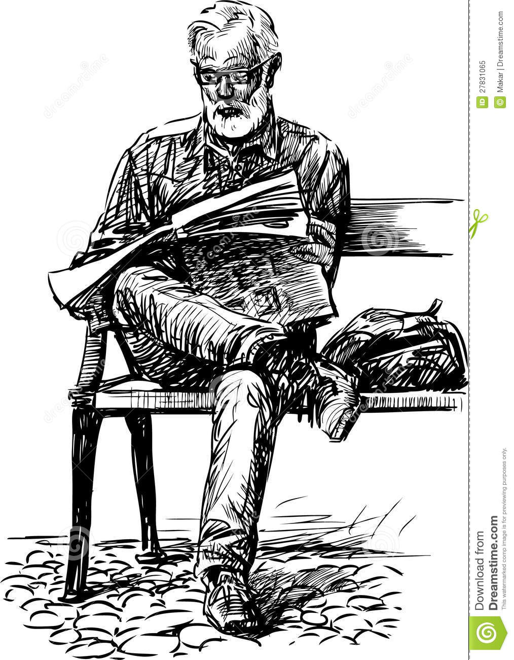 man reads a newspaper stock vector. illustration of gray - 27831065