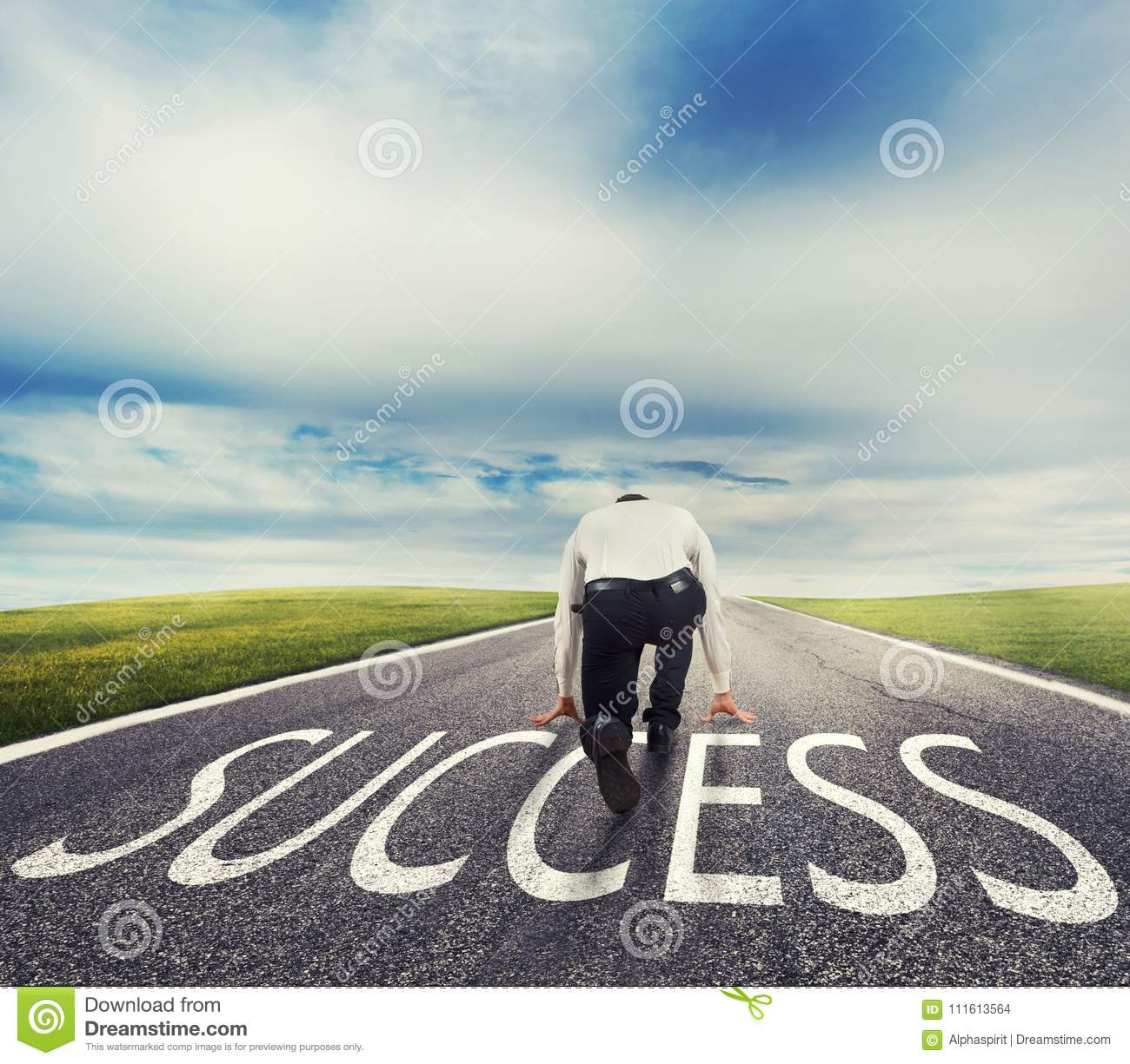 Man ready to run on a success way. Concept of successful businessman and company startup