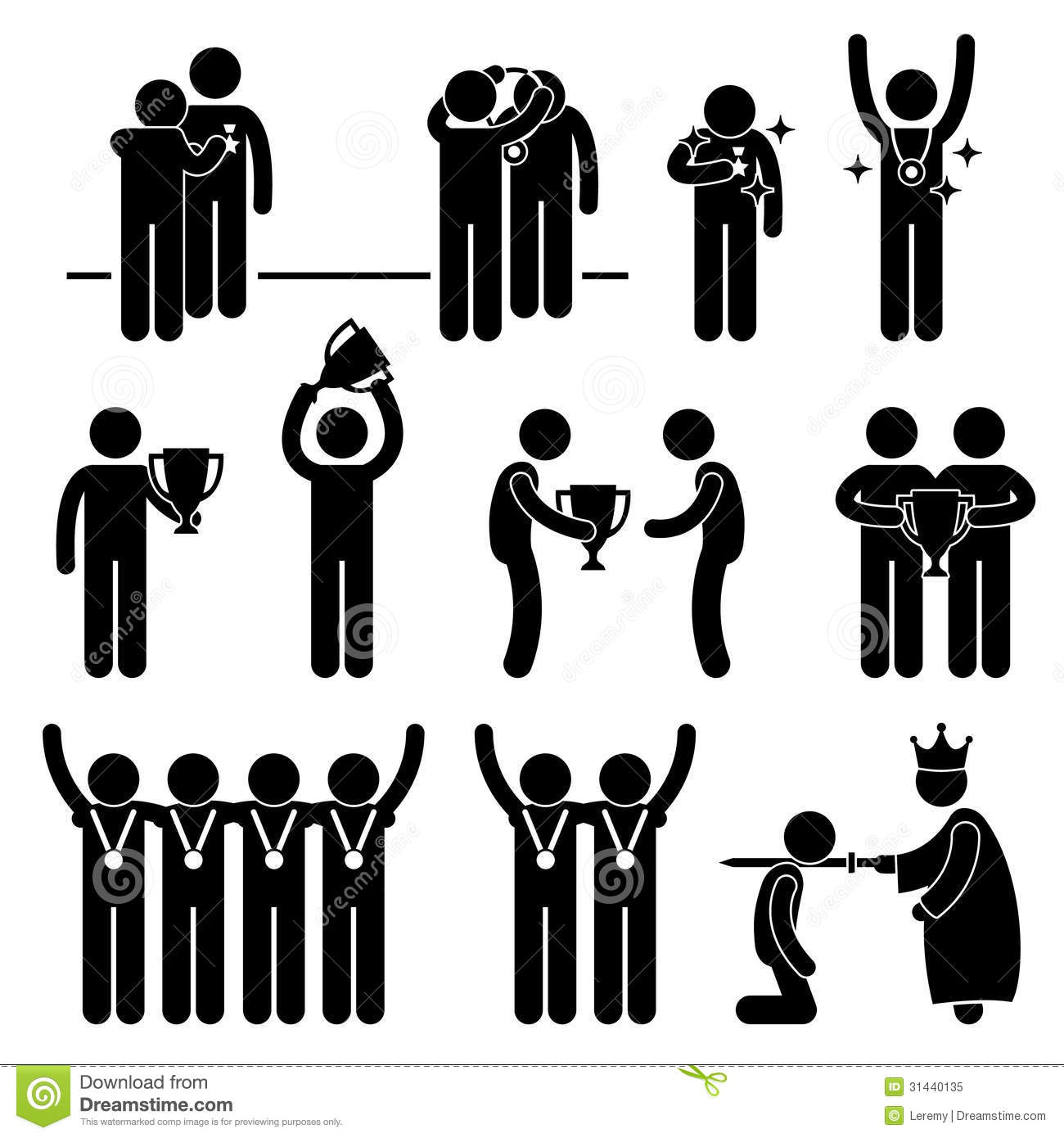 This is a set of people pictograms that represent man receiving award ...