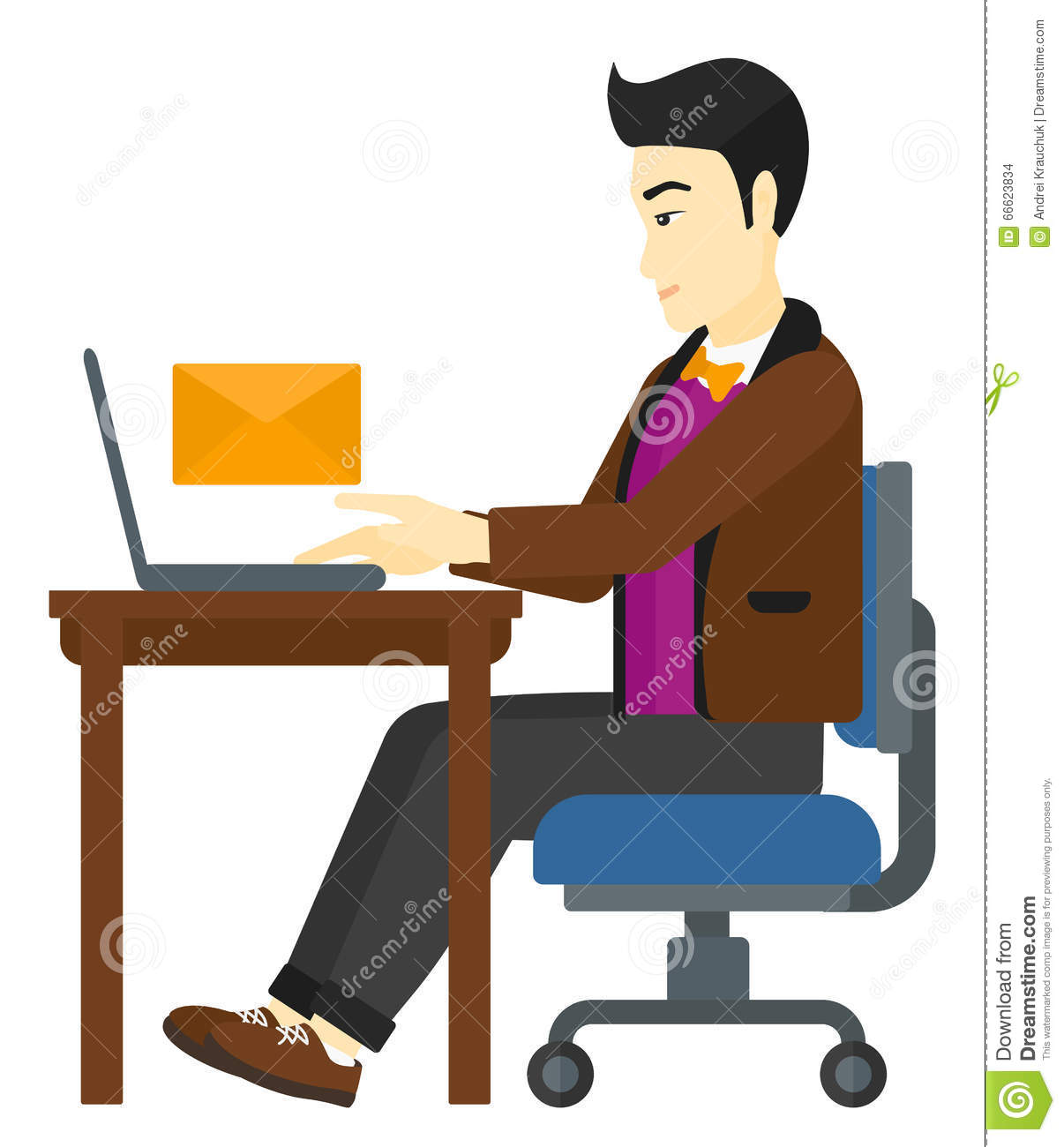 Man receiving email stock vector image 66623834 for Sitting table designs