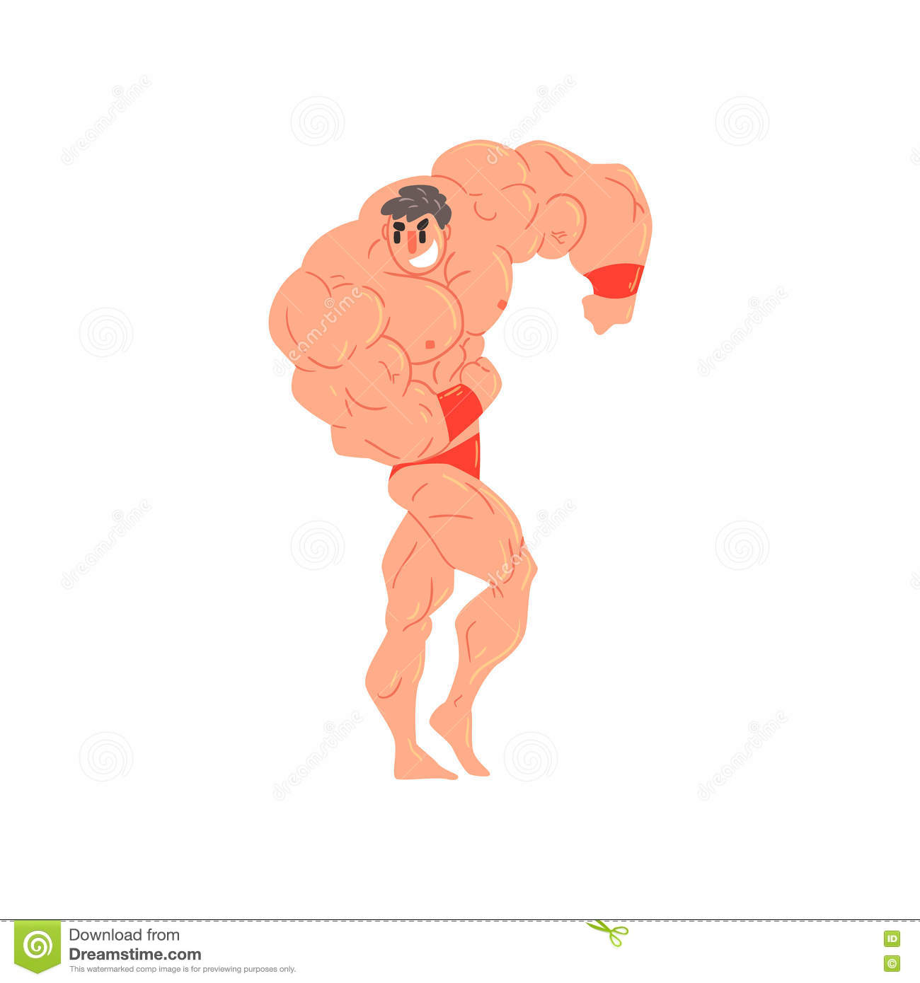 Strong Man Showing Off Illustration Cartoon Character