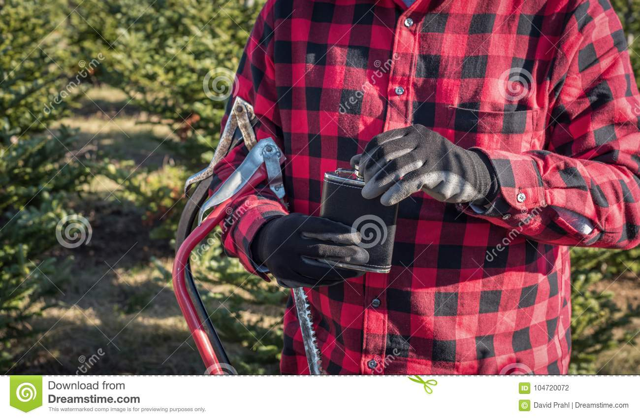 download man in red plaid shirt holding saw and flask at christmas tree f stock photo - Christmas Plaid Shirt
