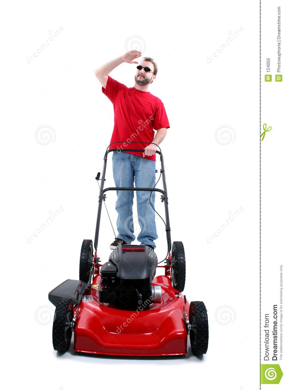 Man With Red Lawn Mower Over White Stock Image Image Of