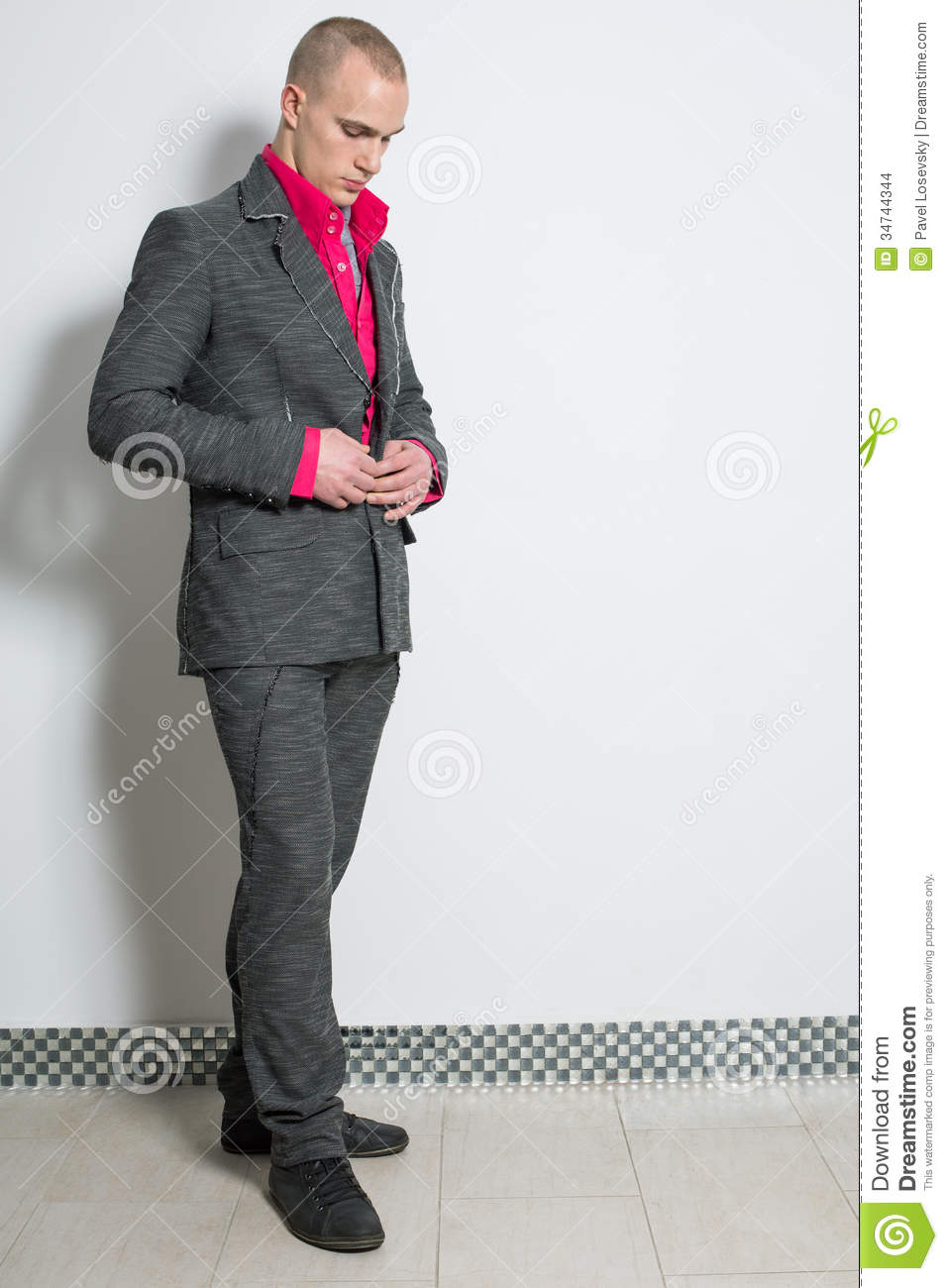Download A Man In A Red Shirt Buttons Fashion Gray Suit Stock Illustration - Illustration of body, hair: 34744344