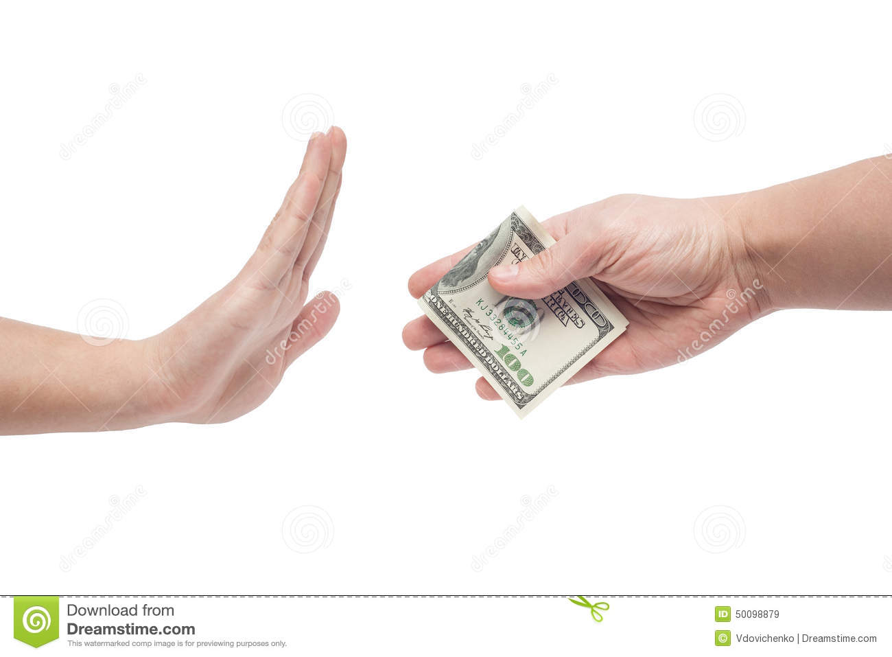 man refusing money offered by man stock image image of giving