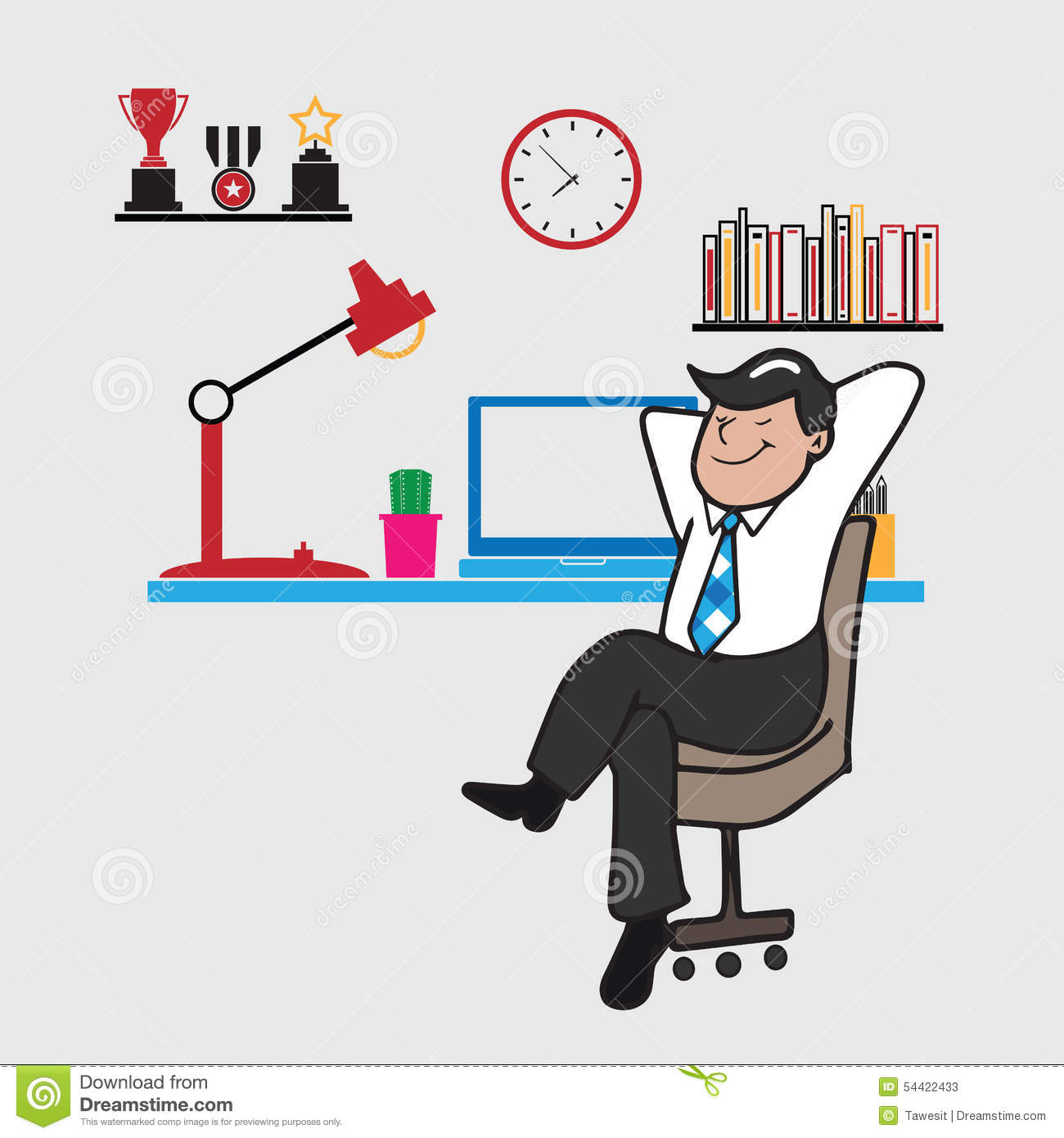 Man Relax At Work Stock Vector Illustration Of Modern 54422433
