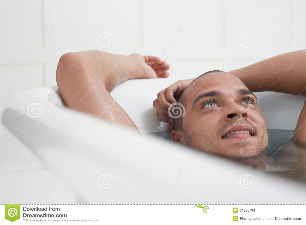 Man Relaxing In Bathtub stock photo. Image of imagination - 31836794