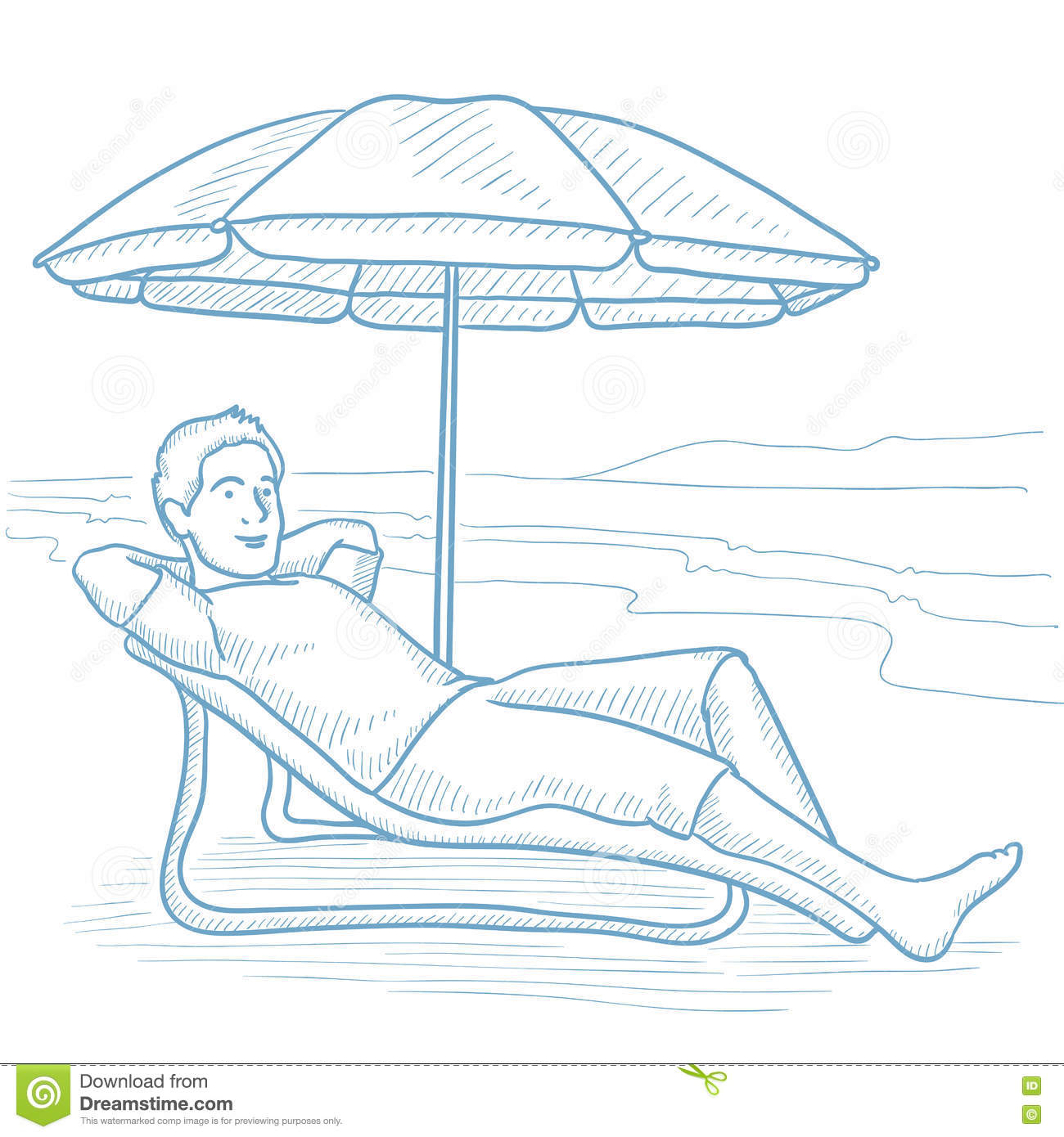 Beach chair and umbrella sketch - Man Relaxing On Beach Chair Vector Illustration
