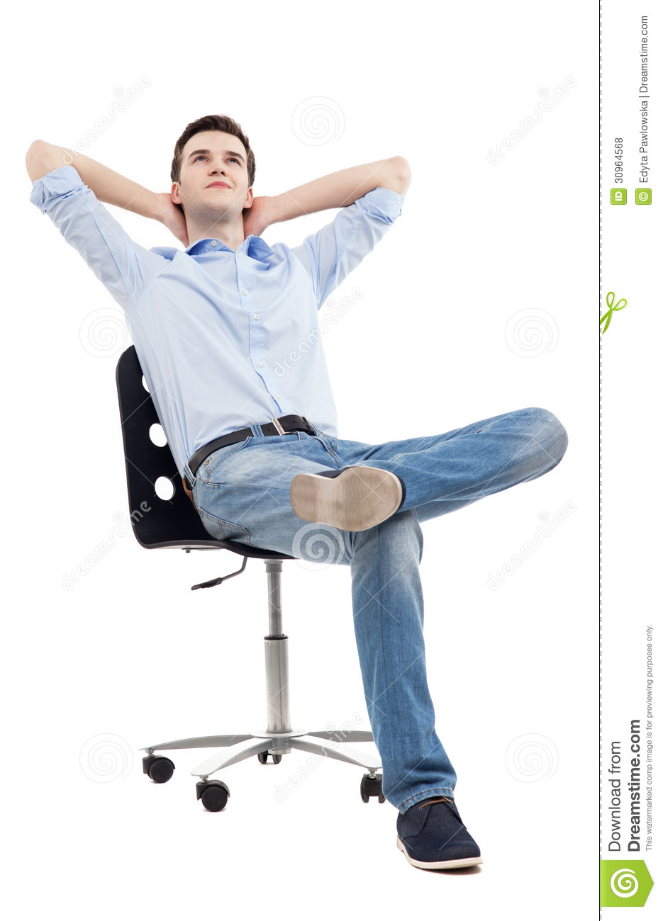 Man Relaxing In Chair Stock Photo Image Of Business
