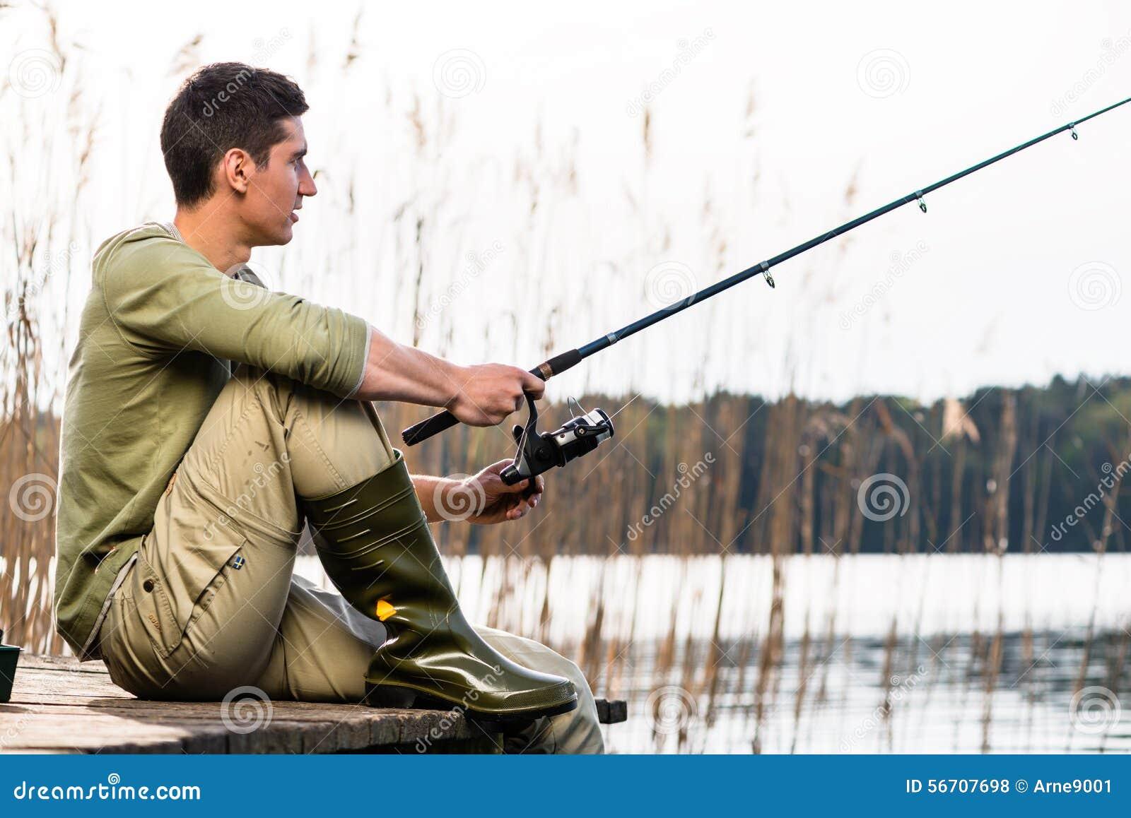 Man relaxing fishing or angling at lake