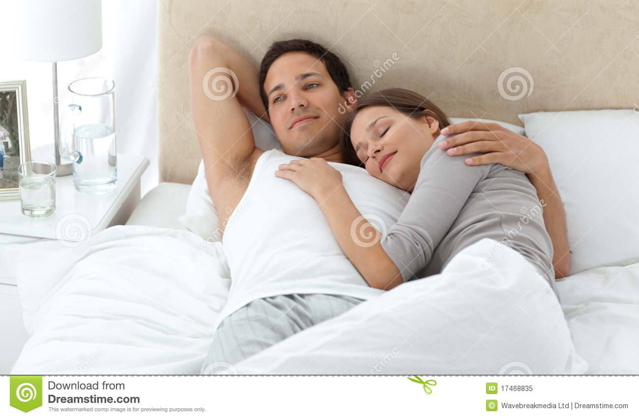 Man Relaxing With His Girlfriend Royalty Free Stock Photo
