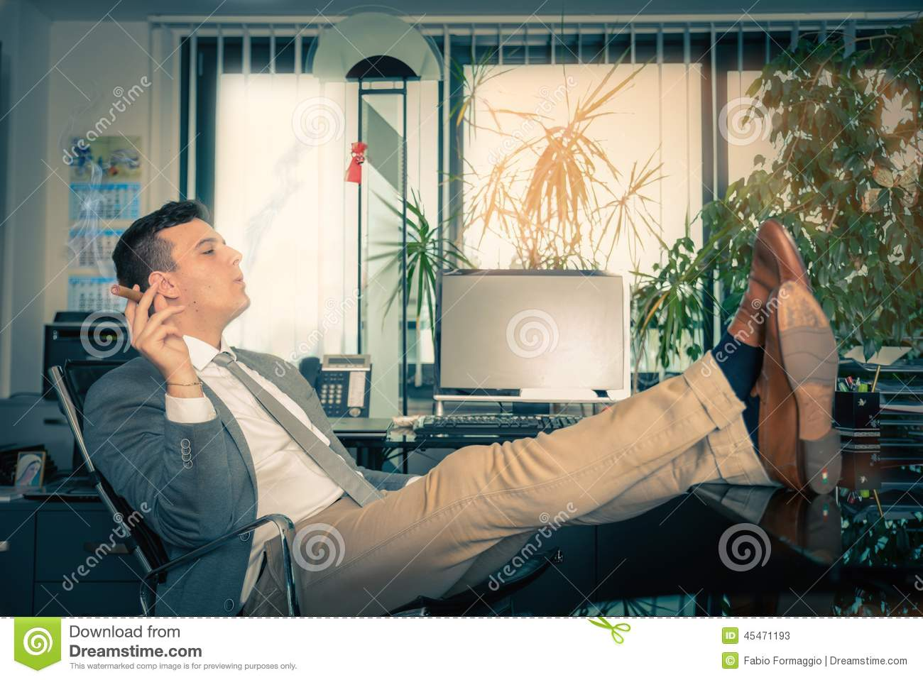 Man Relaxing In His Office Stock Photo Image 45471193