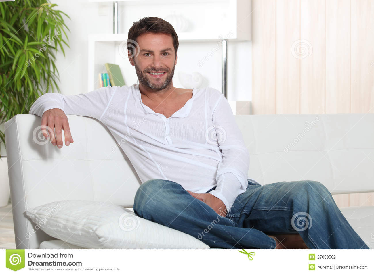 man relaxing at home stock photography image 27089562. Black Bedroom Furniture Sets. Home Design Ideas
