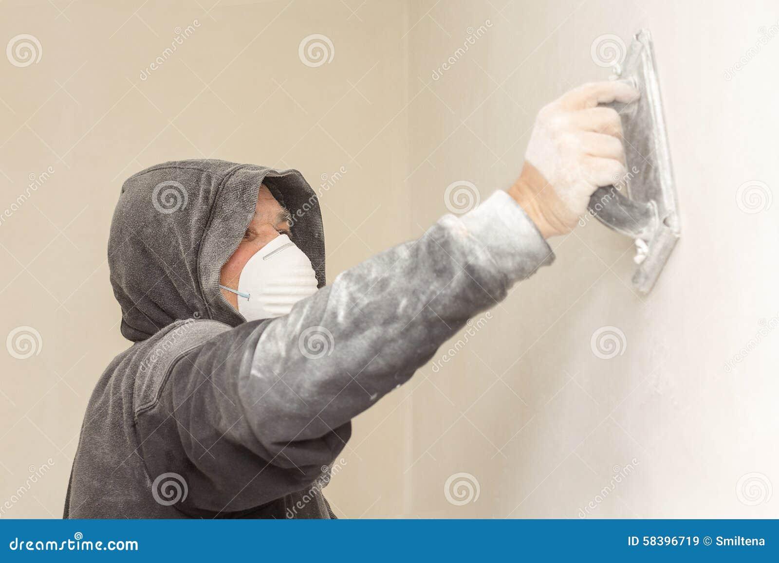 Man Renovating His House Alone. Royalty Free Stock Photo