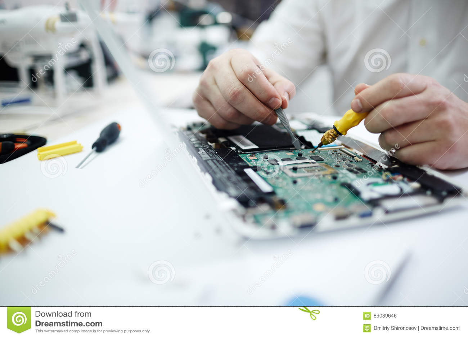 Man Repairing Circuit Board In Laptop Stock Photo Image Of Computer Royalty Free