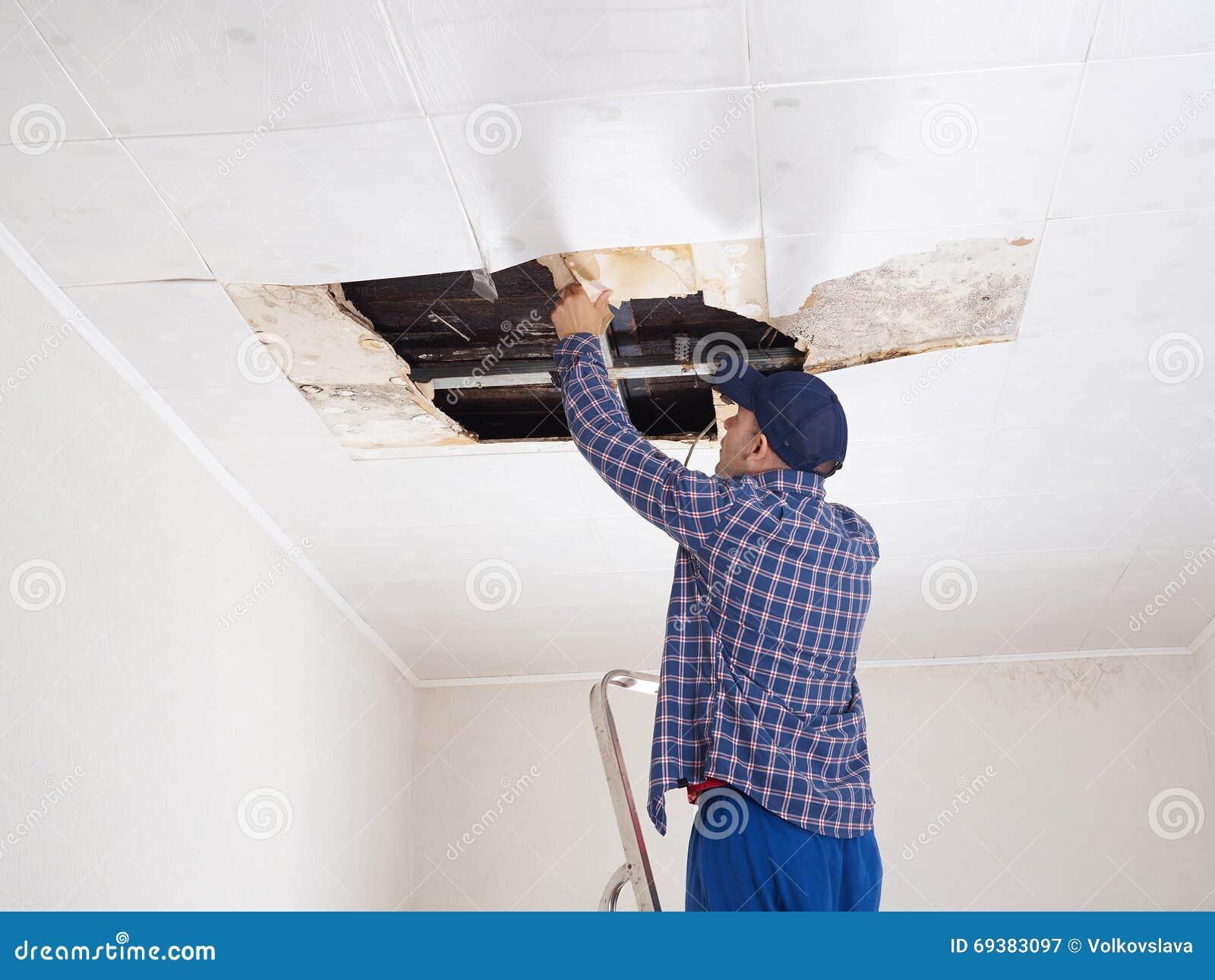 Man Repairing In Ceiling Stock Image Cartoondealer Com