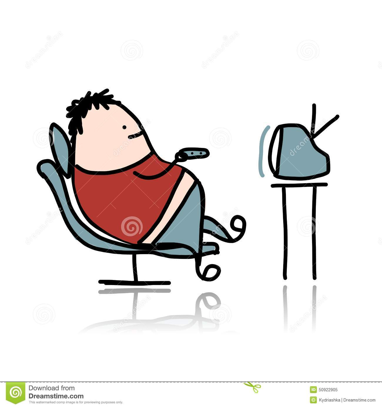 Man Rest At Armchair And Watching Tv Stock Vector Image
