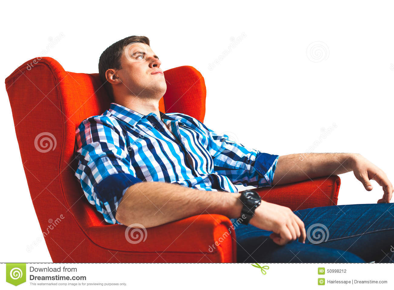 Man Resting In Arm Chair Stock Photo Image 50998212