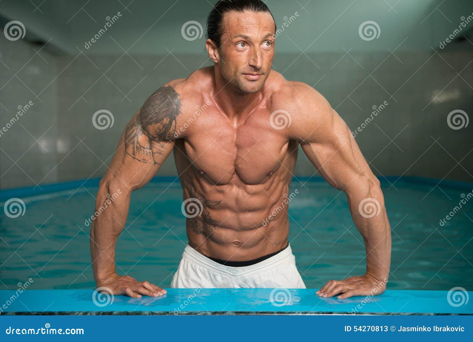 Mature naked swimming