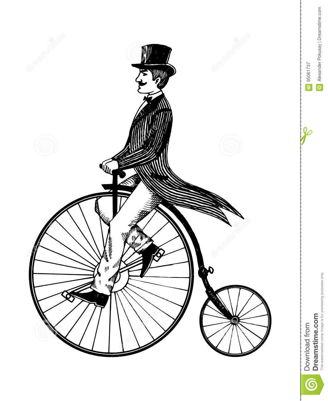 Man On Retro Vintage Old Bicycle Engraving Vector Stock ...