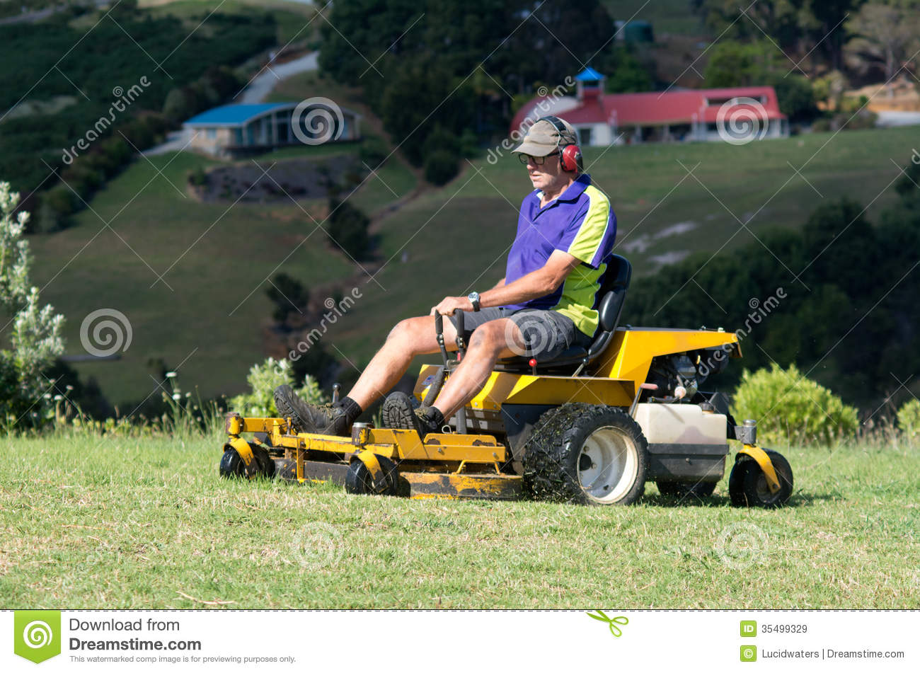 Man Ride On Lawn Mower Editorial Stock Image Image 35499329