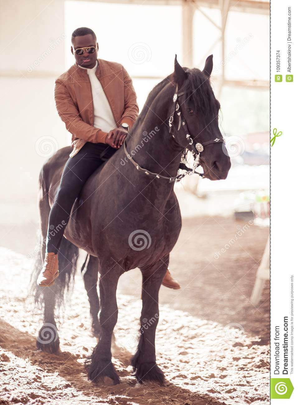 Man Riding Brown Horse On Countryside Stock Photo Image Of Black Lifestyle 109357374
