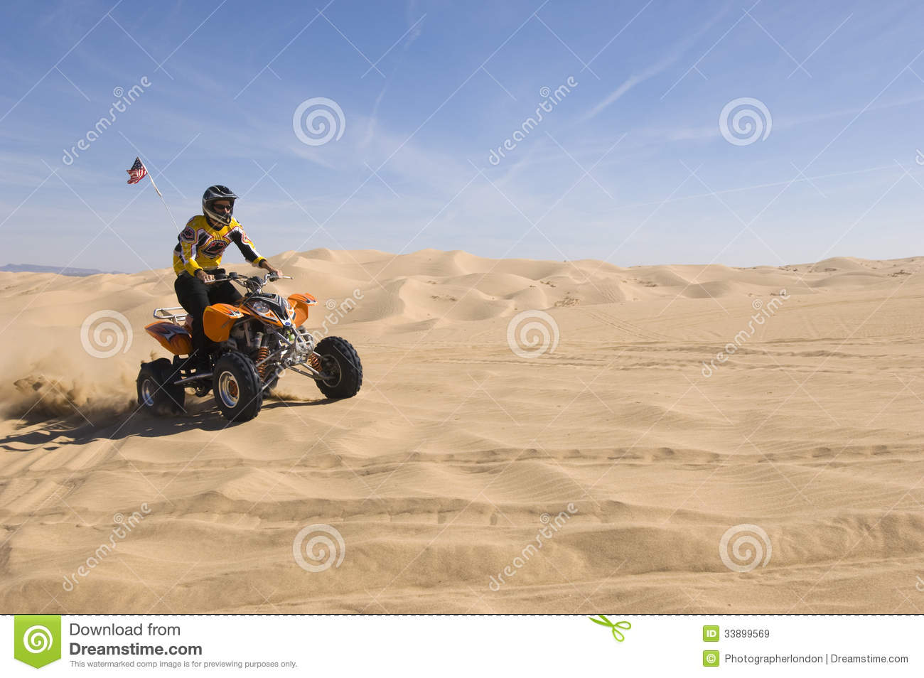 Man Riding Quad Bike In Desert Stock Image Image 33899569
