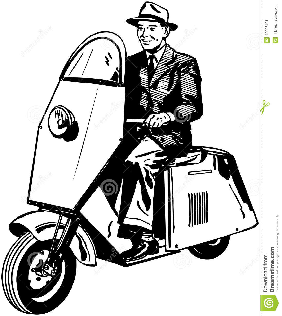 Man Riding Scooter