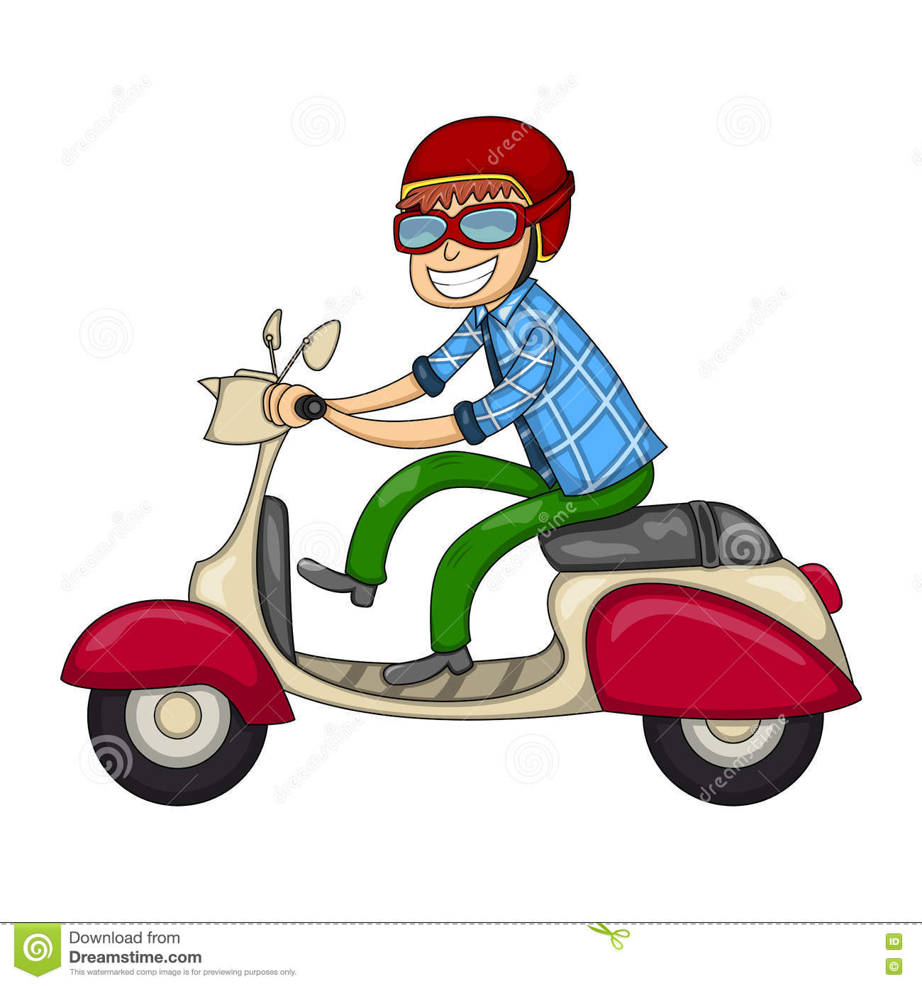 A Man Riding A Scooter Cartoon Stock Vector - Illustration of nostalgia,  classic: 72858498
