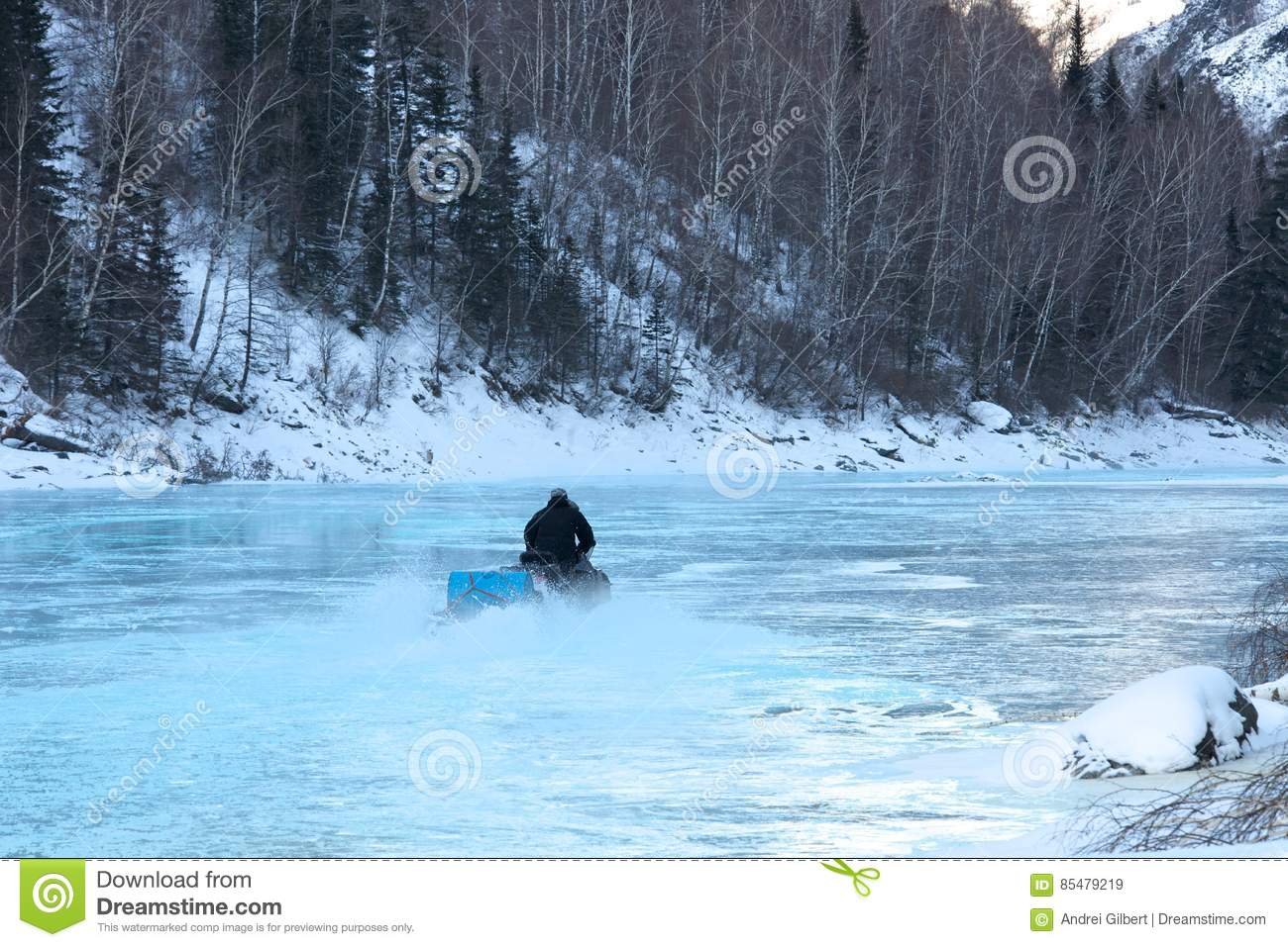 Man Riding On A Snowmobile Frozen Water Stock Image