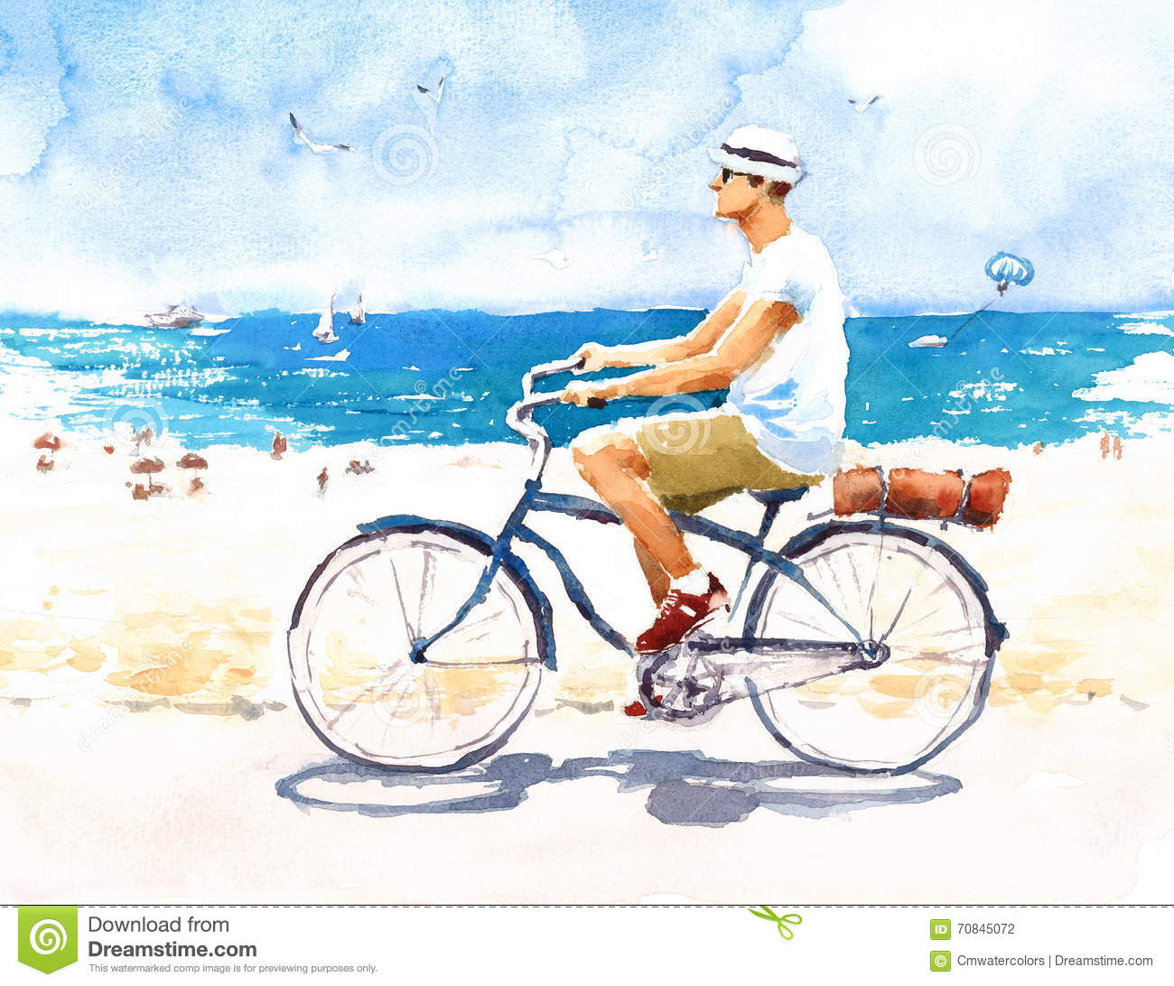 Man Riding A Vintage Bicycle On The Beach Watercolor