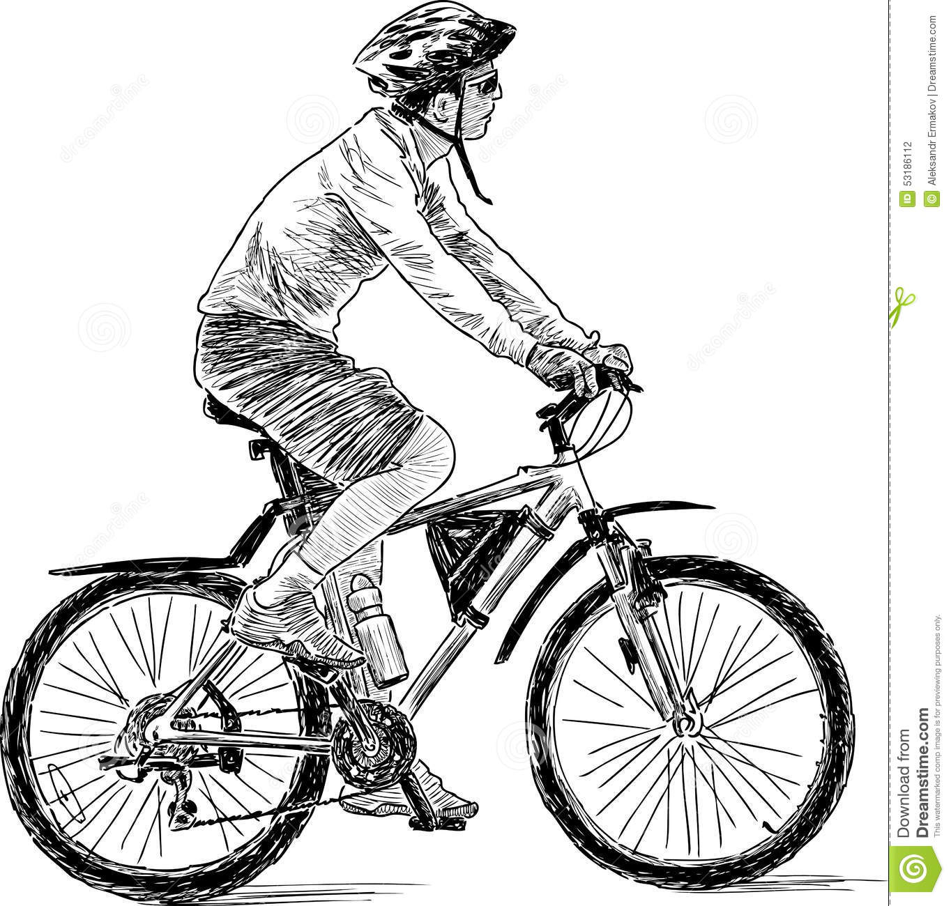 Man Rids On A Bike Stock Vector - Image: 53186112