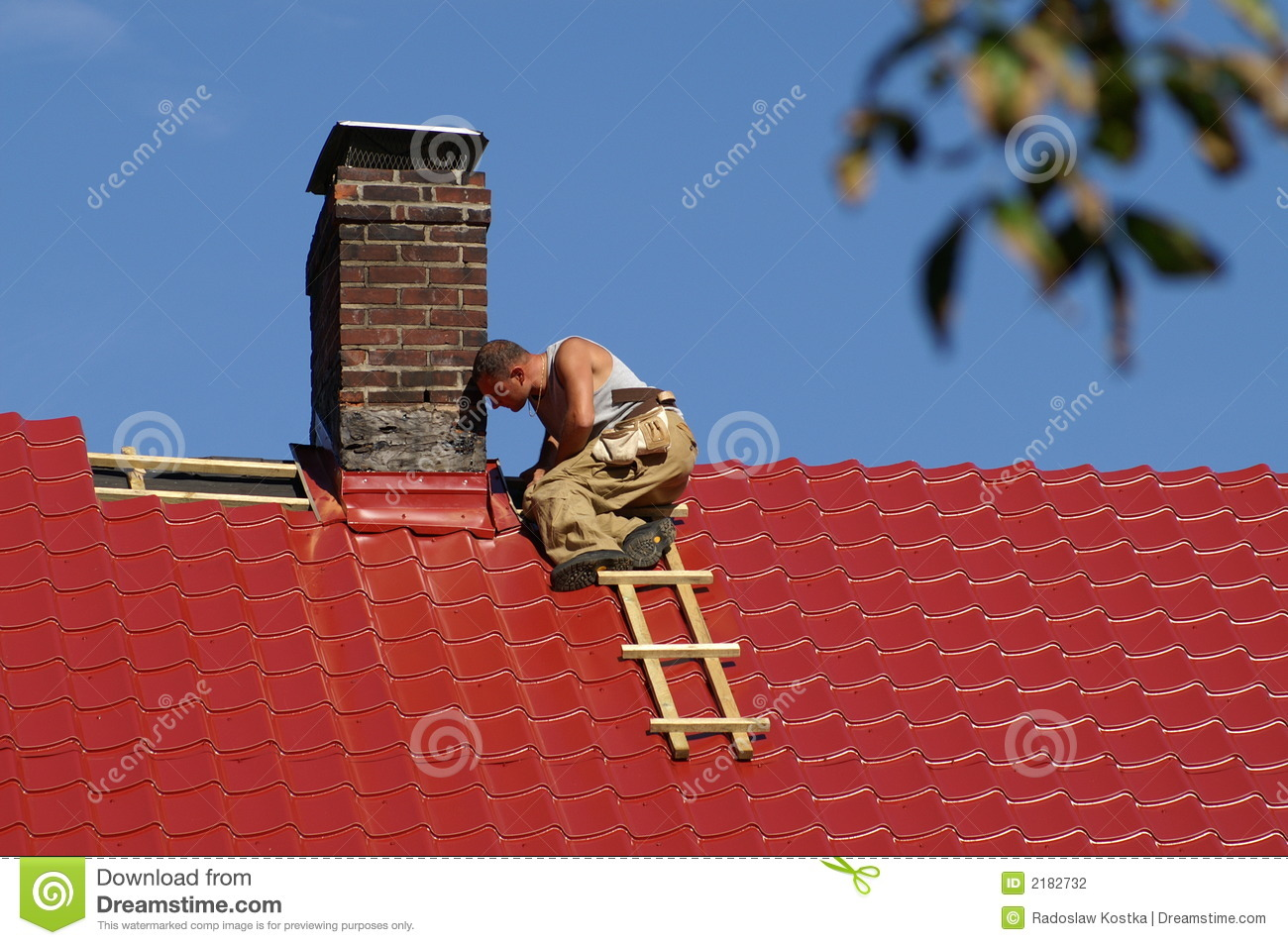 Man On The Roof Stock Photography Image 2182732