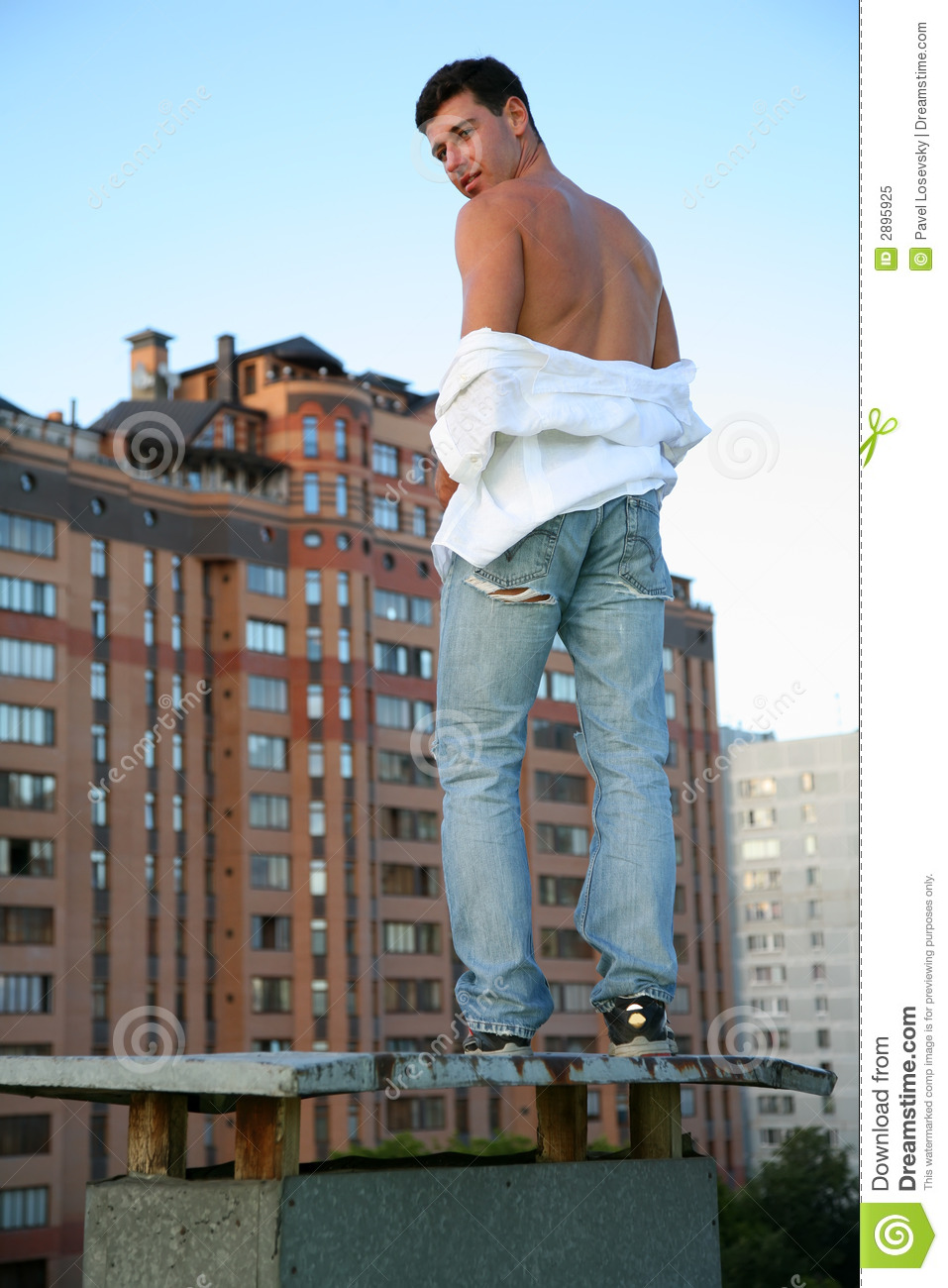 Man On The Roof Royalty Free Stock Photo Image 2895925