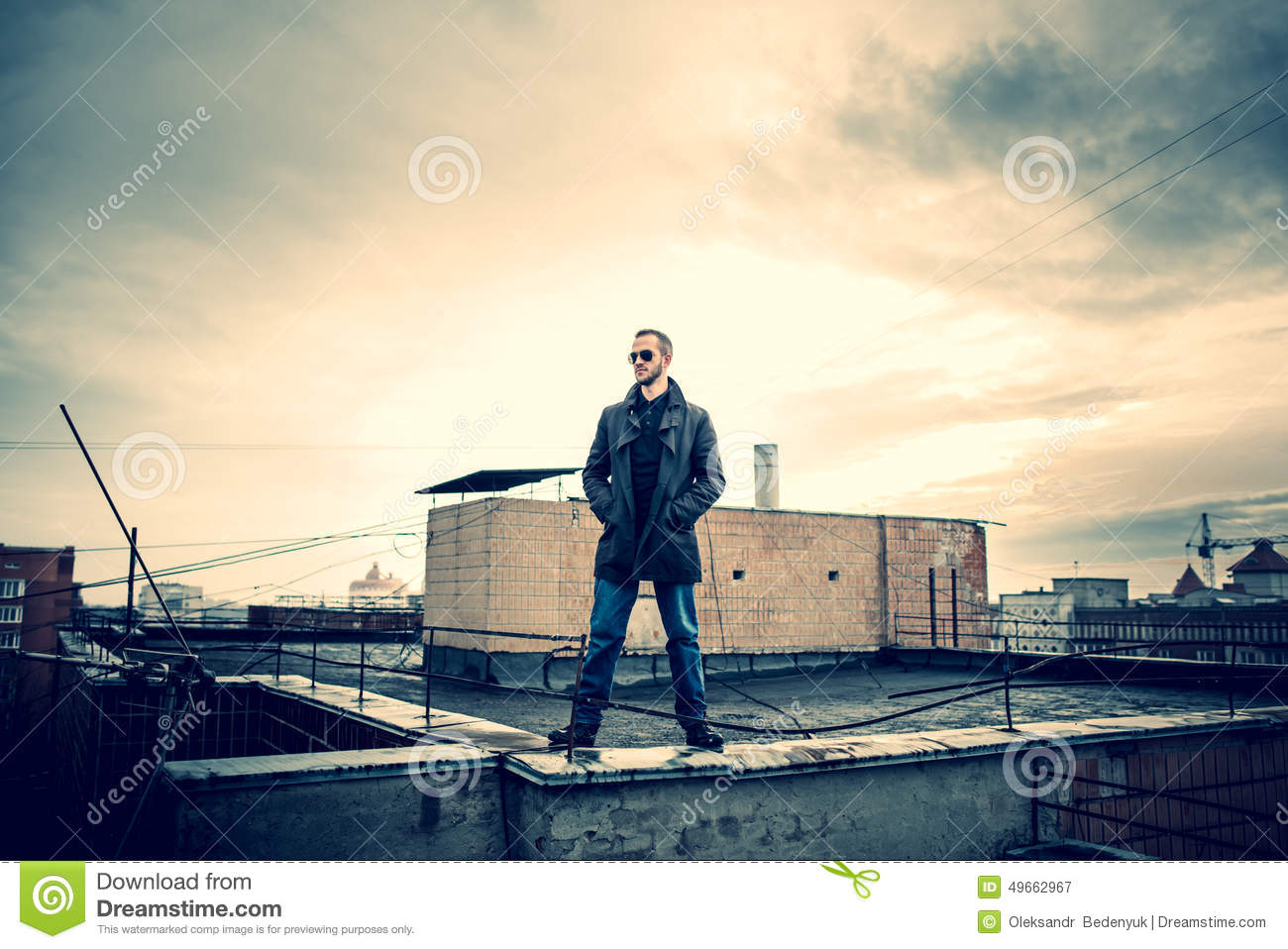 Man On The Roof Of The High Building Stock Photo Image