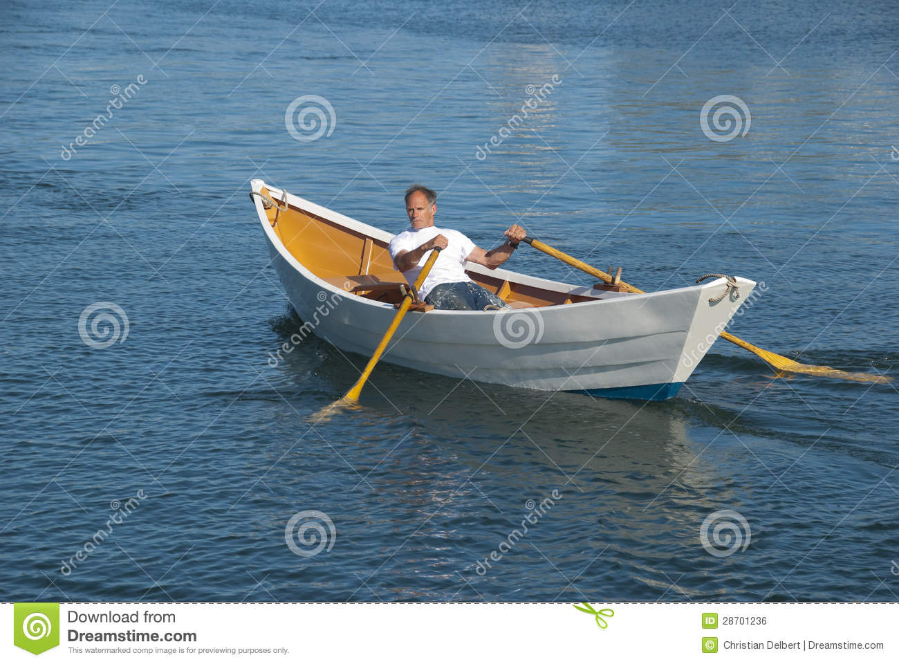 Man Rowing A Boat In Harbor Stock Photo - Image of recreation, water: 28701236