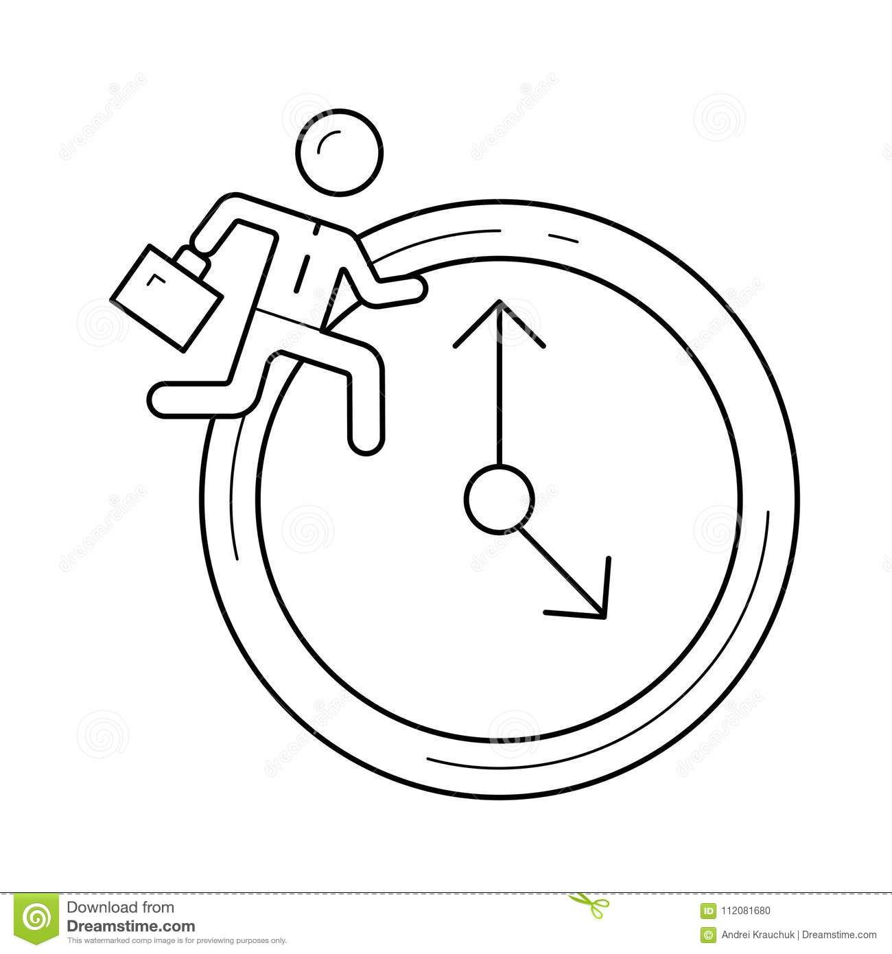 Man Running On Clock Background Vector Line Icon Stock Vector
