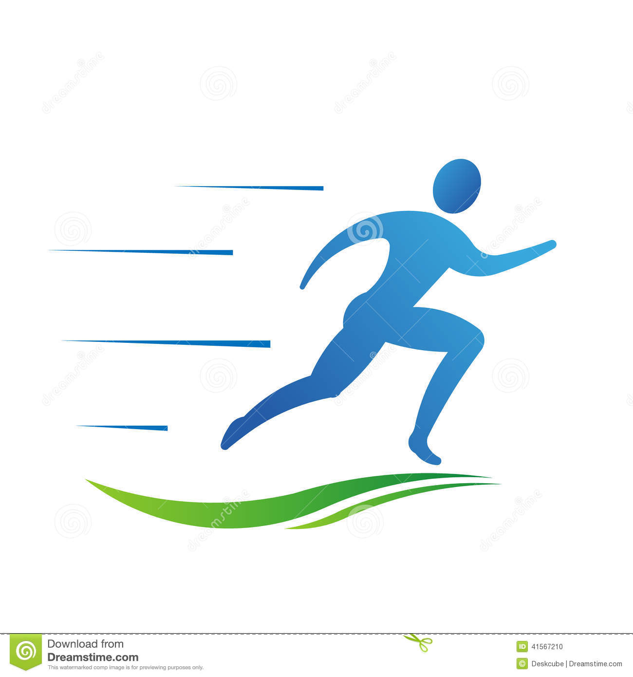 Man Running Fast With Trail Logo Stock Vector Image