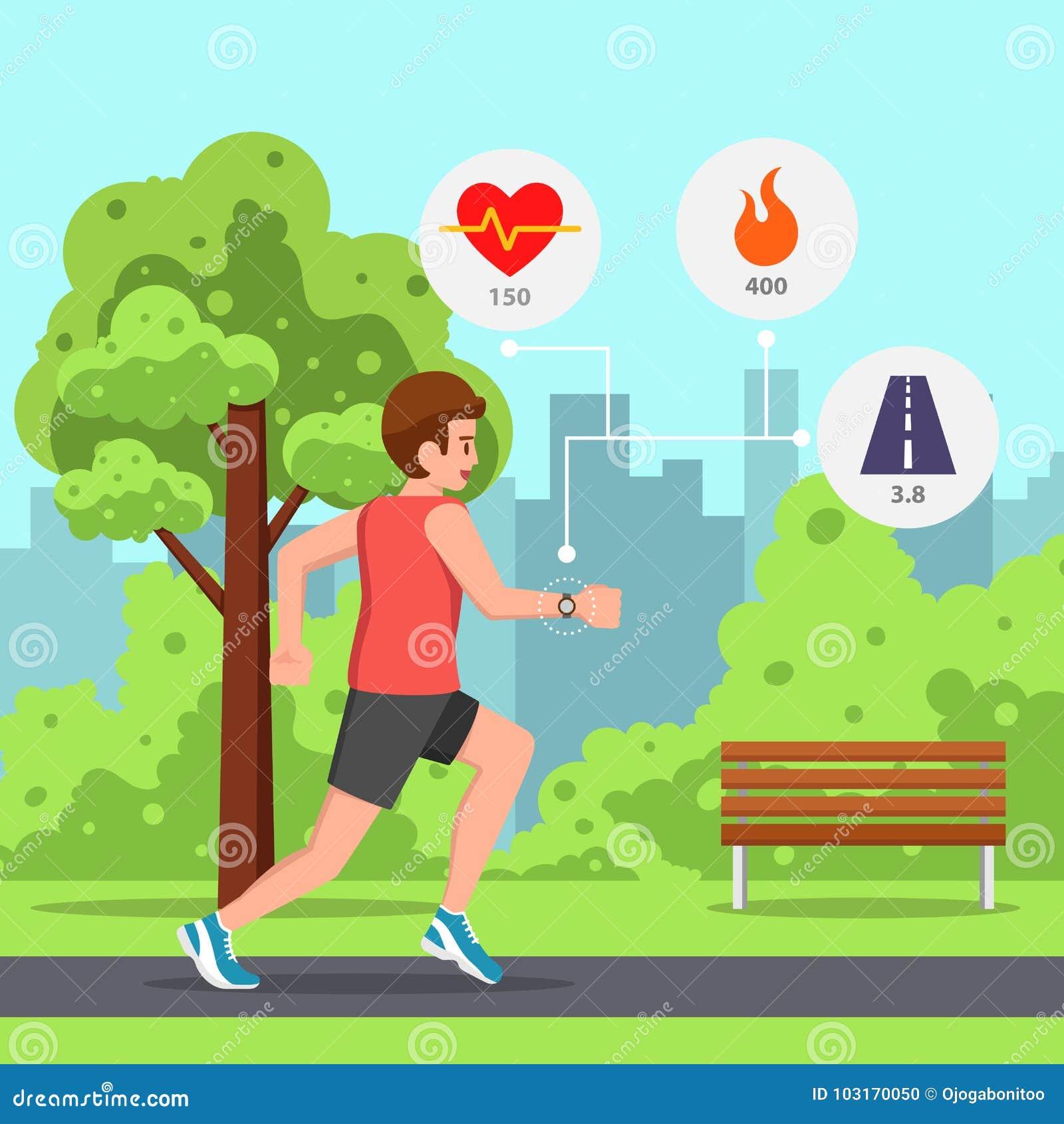Runner Man Running Heart Rate Monitor Stock Illustrations 37